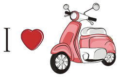 I love pink moped Royalty Free Stock Photo