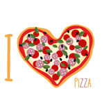 I love pizza. Heart symbol in form of pizza. Vector Italian nati Stock Photos