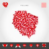 I Love Poland. Red Hearts Pattern Vector Map of Poland. Love Icon Set. I Love Poland. Red and Pink Hearts Pattern Vector Map of Poland Isolated on Grey vector illustration