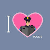 I love police. Policeman and a symbol of   heart Stock Images