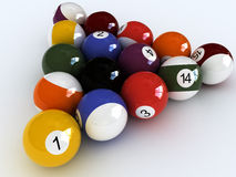 I love pool. Close-up billard balls.  isolated over white Royalty Free Stock Photos