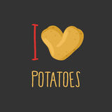 I love potatoes. Heart of ripe potato. Royalty Free Stock Images