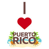 I love Puerto Rico. Travel. Palm, summer, lounge chair. Vector flat illustration. Stock Photography