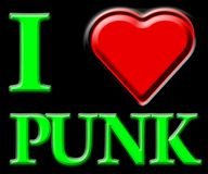 I love punk. 3D text I LOVE PUNK Royalty Free Stock Images