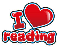 I love reading. In bright red Royalty Free Stock Photos