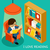 I love reading, 3d isometric illustration Royalty Free Stock Image