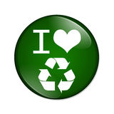 I love recycling button Stock Images