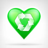 I love recycling concept as arrow cycle design on green heart Royalty Free Stock Image