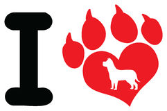 I Love With Red Heart Paw Print With Claws And Dog Silhouette Logo Design Royalty Free Stock Photography