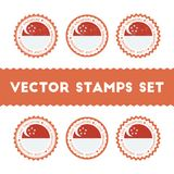 I Love Republic of Singapore vector stamps set. Royalty Free Stock Photos