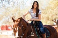 I love riding my horse! Stock Photo