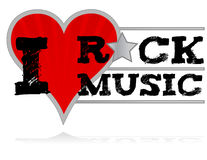 I love rock. Music design heart over a white background Royalty Free Stock Photos