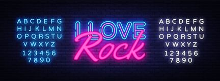 I Love Rock Neon Text Vector. Rock Music neon sign, design template, modern trend design, night neon signboard, night stock illustration
