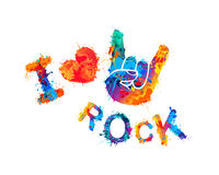 I love rock. Sign of the horns Royalty Free Stock Photo
