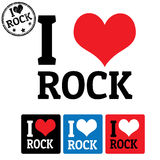 I love Rock sign and labels Stock Photo