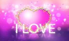 I Love. Romantic illustration decorative heart on the background Stock Photography