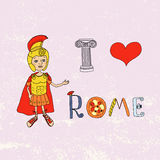 I love Rome. Roman gladiator and letters with elements drawn by hand. Roman gladiator and letters with elements drawn by hand. Capital. I love Rome Lettering Stock Photos