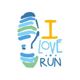 I love run logo symbol. Colorful hand drawn illustration. For sport poster, emblem, sign of the race supporters, fan clubs Stock Photos
