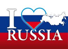 I love Russia, flag, heart and map symbols. Vector illustration, touristic image Stock Image