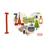 I love Russia. Heart of sights of Russian Federation. Russia map Stock Images