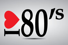 I love 80s. Black text graphics illustrating I Love 80's with red heart on grey background royalty free illustration