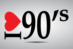 I love 90's. Black text graphics with I love 90's with red heart on grey background Royalty Free Stock Images