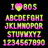 I love 80s. Retro font in traditional colors and style. For your decoration Royalty Free Illustration