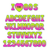 I love 80s. Retro font in traditional colors and style. For your decoration Vector Illustration