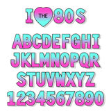 I love 80s. Retro font in traditional colors and style. For your decoration Stock Image