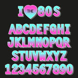 I love 80s. Retro font in traditional colors and style. For your decoration Royalty Free Stock Images