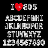I love 80s. Retro font in traditional colors and style. For your decoration Stock Photos
