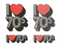 I Love 70s. In retro style and used versions vector illustration