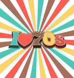 I love 70s Vintage Art Background Royalty Free Stock Photo