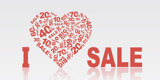 I love SALE. Vector I love SALE eps without transparency red Royalty Free Stock Photography