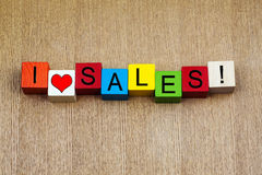 I Love Sales, sign for a bargain, discount and business sales. Royalty Free Stock Photo