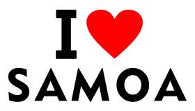 I love Samoa. Country text red heart message Royalty Free Stock Photo
