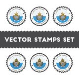 I Love San Marino vector stamps set. Stock Photos