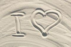 I love sand. I love draw on beach sand Stock Photo