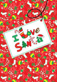 I Love Santa. Vector illustration of a Christmas message on a card with a matching repeat pattern Stock Photo
