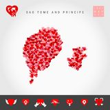 I Love Sao Tome and Principe. Red Hearts Pattern Vector Map of Sao Tome and Principe. Love Icon Set. I Love Sao Tome and Principe. Red and Pink Hearts Pattern royalty free illustration