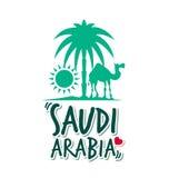 I Love Saudi Arabia in White Background Stock Photos