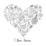 I love sauna poster. I love sauna. Sauna accessories sketches in heart shape. Hand drawn spa items collection. Doodle sauna objects isolated on white background vector illustration