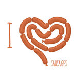 I love sausage. Sausages forming a heart. Delicacy for lovers of. Wieners. Food  illustration Stock Images