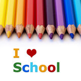 I love school. Colorful pencils with the words I love school royalty free stock image