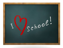I love school. 3d illustration of chalkboard with 'I love school' sign Royalty Free Stock Photo