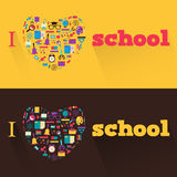 I love school. Banners with  a school subjects and. Banners with  a school subjects and tools Stock Photos