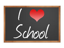 I love school on blackboard. I love school written on a blackboard isolated over a white background Stock Image