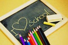 I love school blackboard. Blackboard with I love school message royalty free stock photos