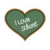 I love school. Heart symbol as a chalkboard. Text is written in. Chalk on Blackboard. Green School Board. Vector illustration Royalty Free Stock Photos