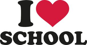 I love school with heart. Vector Royalty Free Stock Photo